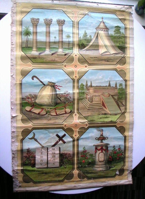 RESERVED for lisa.  antique IOOF international order of oddfellows chart from WV fraternal lodge - rare victorian chromolithograph on linen