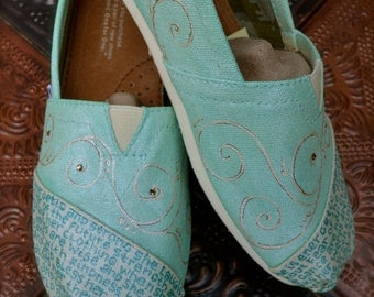 Metallic Mint Proverbs 31 Custom Painted TOMS Shoes