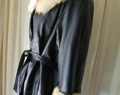Ladies Long Leather Coat Vintage 1970s Faux Fur Collar and Cuffs