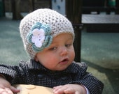 Crochet Baby Hat Beanie in Light Grey with Soft Teal Blue and White Flower - Baby Toddler Children
