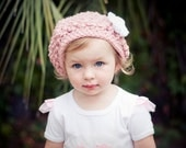 Ooh La La Pink Beret Hat with White Flower - Baby Toddler Children