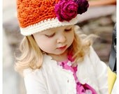 Girls Crochet Beanie Hat in Orange Cream Grape Berry with Green Leaf - Baby Toddler Children  - Perfect for Spring