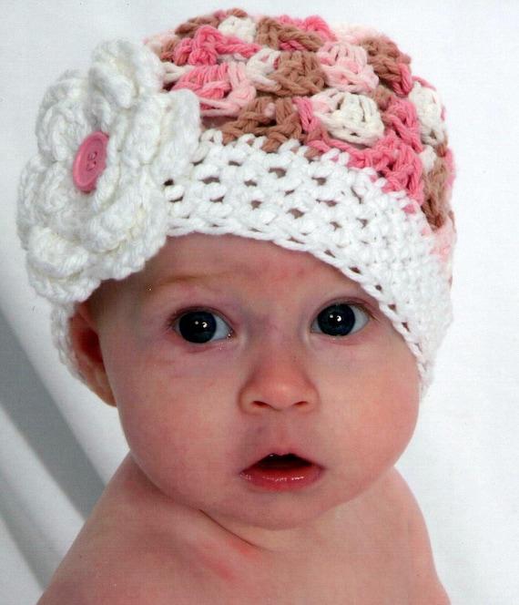 Newborn Baby Hat Beanie -  Neopolitan Pink with White Flower and Pink Button Crochet Baby Infant Toddler Children