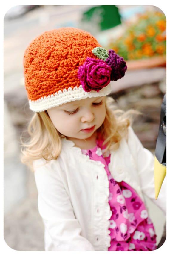 Summer Beanie Hat Crochet Pattern : Items similar to Girls Crochet Beanie Hat in Orange Cream ...
