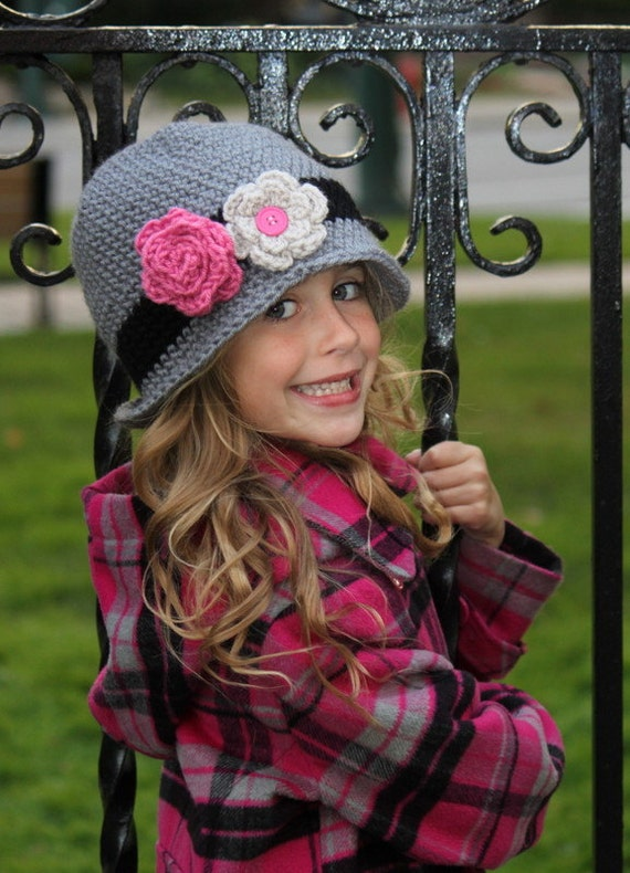 Girls Crochet  Cloche Beanie Winter Hat - Black Grey Pink - Baby Toddler Children Sizes Available - Great for Back to School