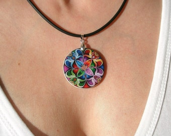 Colorful Abstract Ornament Necklace, Polymer Clay