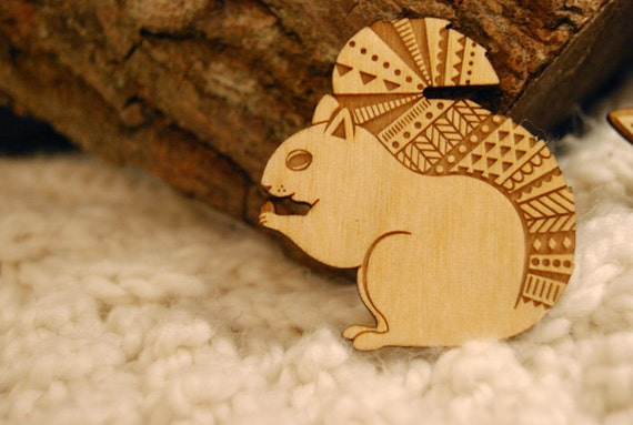 Woodland squirrel brooch ~ laser cut jewellery