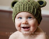 Baby Boy Hat, 6 to 12 Months Baby Boy Frog Hat, Baby Boy Flapper Hat, Olive with Black Ears. Great for photo props. Baby Gift.