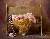 Baby Girl Stocking Hat, Great for Newborn Photo Props, Birth Announcement Cards. Baby Pink and Brown with PomPom. Kids.