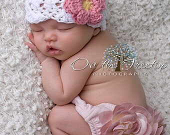 Baby Girl Hat, 6 to 12 Months Baby Girl Hat, Baby Crochet Flapper Beanie, White with Rose Pink and Yellow Flower. Great for Photo Props.