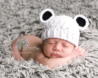 NEWBORN Baby Panda Hat, Flapper Baby Boy Hat, Baby Girl Hat, White with Black Ears, Baby Photo Props, Baby Gift, Baby Birth Cards.