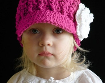 2T to 4T Toddler Girl Newsboy Hat, Crochet Girl Visor Hat, Fuchsia with White Flower. So Adorable and Stylish. Great for all Seasons. Gift.