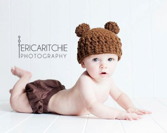 Baby Boy Hat, 6 to 12 Months Baby Boy Teddy Bear Hat,  Baby Flapper Beanie, Chocolate Brown with Pom Pom Ears. Great for Photo Props.