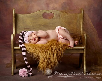Baby Girl Stocking Hat, Newborn Photo Props, Birth Announcement Cards, Baby Pink, Brown, PomPom, Kids, Elf Baby Hat, Stocking Hat, Children