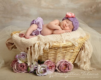 Baby Girl Hat, Newborn Girl Hat, Baby Girl Flapper Beanie, Lavender with Rose and Pink flower. Newborn Photo Props. Gift. Hats and Bonnets.