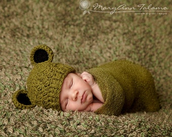 Baby Boy Hat, 0 to 3 Months Boy Hat, Baby Boy Frog Hat, Olive with Black Ears. Great for Professional Photo Props. Baby Shower Gift.