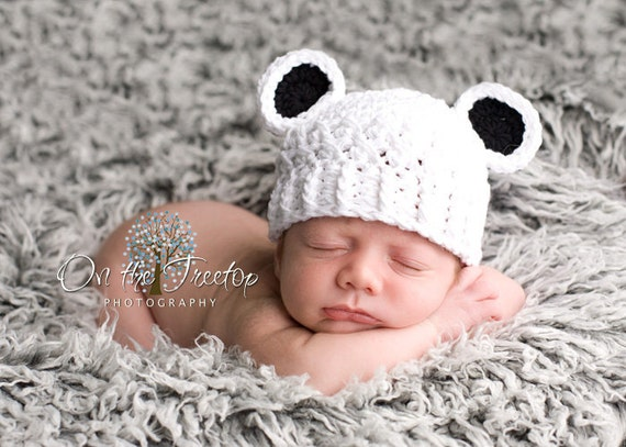 Baby Boy Hat, Baby Girl Hat, 0 to 3 Months Baby Panda Hat, Panda Hat, White with Black Ears. Newborn Photo Props. Baby Shower Gift.