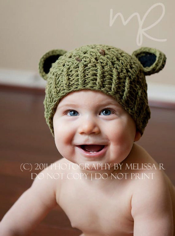 Baby Boy Hat, 3 to 6 Months Baby Boy Hat, Baby Boy Frog Hat, Olive with Black Ears. Great for Photo Props. Baby Shower Gift.