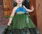 The Original - Girls Dazzle Peacock Chiffon Rosette Dress