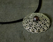 Gift For Women, Halloween Gothic Lace Necklace, Halloween Necklace, Black Leather Necklace, Halloween Accessory