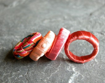 Unique Gift For Her, Apricot Fabric Ring, Stacking Rings, Orange Ring, Funky Ring, Women's Jewelry, Fabric Jewelry, Statement Rings