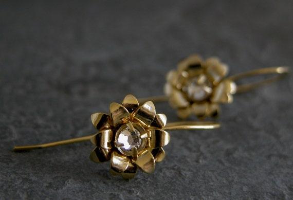 Women's Gift, Gold Blossom Earrings,  Flower Gold Earrings,Rose Gold Earrings,Crystal Earrings, Wedding Jewelry,wedding Earrings