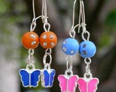 6 STYLES to chose from- Disco Butterflies Earrings- beautiful color beads and butterflies that a little girl will love