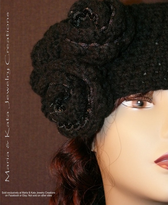 Rosette Vintage Crochet Style Hat with matching pieces