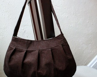 Pleated Purse - Brown Corduroy Purse - Buttercup Bag
