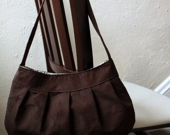 Brown Corduroy Purse - Pleated Purse / Handbag - Large Buttercup Bag