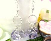 Pink amethyst sterling silver hoop earrings, lavender sterling silver drop earrings, lavender drop sterling silver dangle earrings