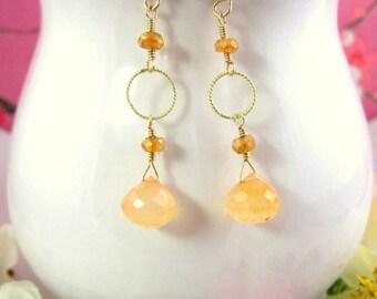 Peach chalcedony gold dangle earrings, Light peach drop earrings, Peach drop dangle gold earrings, Nature inspired peach dangle earrings