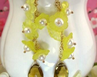 Whiskey quartz yellow cherry blossom dangle earrings, yellow cherry blossom pearl earrings, Mother's day yellow sakura gold dangle earrings