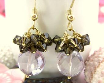 Pink amethyst coin dark topaz Swarovski crystal cluster drop earrings, pink amethyst dangle earrings, Valentines Day pink coin drop earrings