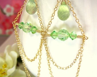 Swarovski green peridot crystal gold chandelier earrings, green gold chain dangle earrings, sage green tribal chain gold filled earrings