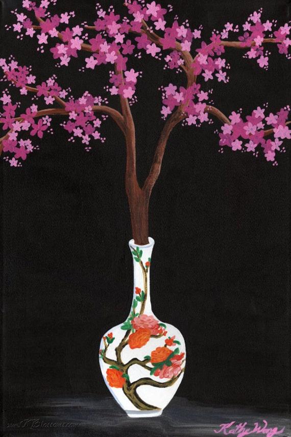 chinese porcelain cherry blossom vase still life poster print