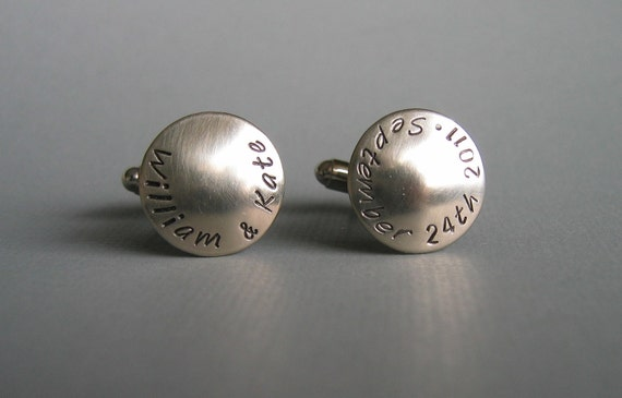 CUFF LINKS for the Groom -- Personalized Custom Names and Wedding Date Cufflinks