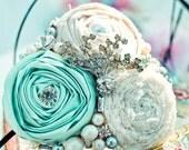 Custom Bridal Headband Rosettes Rhinestones