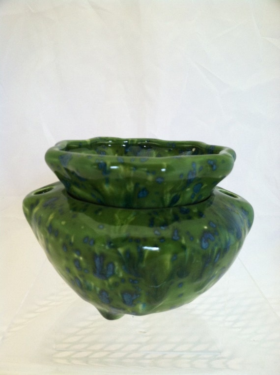 """African Violet Planter Self Watering Pot  - 2 Piece - Green and Blue - 5.25"""" x 3.75"""""""