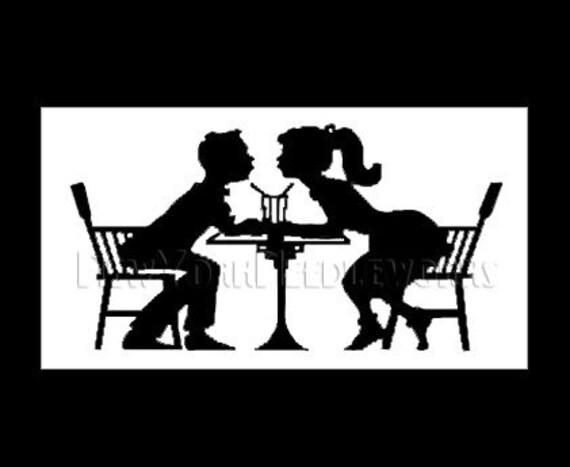 50s Kissing Couple Pattern, Soda Bar, Cross Stitch Pattern, Patterns, 1950s Silhouette, Needlepoint Patterns by NewYorkNeedleworks on Etsy
