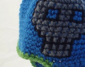 Blue Baby Hat with Earflaps, Embroidered Gray Pirate Skull and Matching Booties with Green Trim