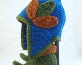 Pointed Blue Baby Hat with Earflaps, Pumpkin Spice and Olive Green Leaves and Matching Booties