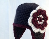 Dark Gray Baby Hat with Earflaps, Burgundy and White Flower and Matching Booties
