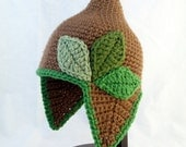 Pointed Brown Baby Hat with Earflaps and Varying Green Leaves