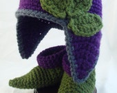 Pointed Purple Baby Hat with Earflaps, Olive Green Leaves and Matching Booties