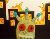 Jeet -- Crochet Green Alien Monster with Blue Antennae, Orange Eyes and Chompy Teeth