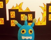 Jeet Jr. -- Crochet Small Blue Alien Monster with Green Antennae, Yellow Eyes and Chompy Teeth
