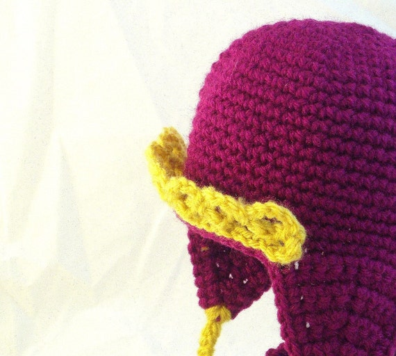 Bright Pink Baby Hat with Earflaps, Tiara and Matching Golden Slippers Booties