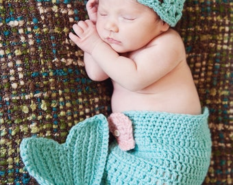 Newborn Baby Girl Mermaid Outfit - Diaper Cover and Hat Photo Prop Set - Aqua Blue