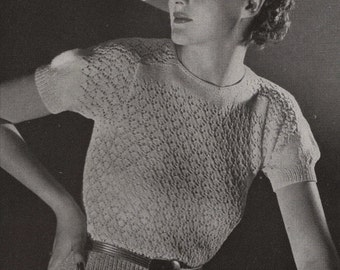 PDF of Minerva's Biltmore Two Piece Boucle Suit and Velveen Blouse Knitting Pattern No. 3616, c. 1934